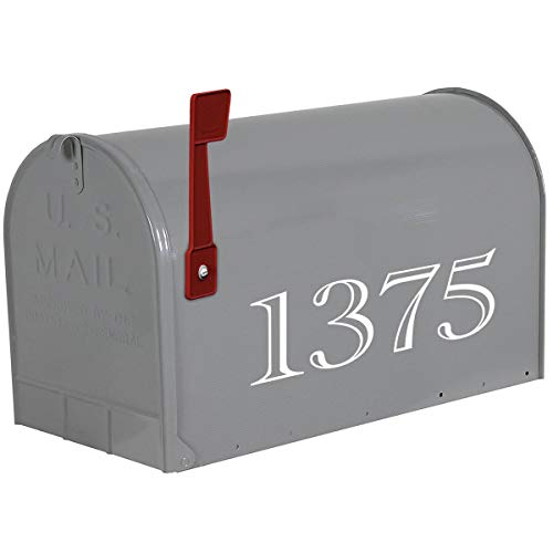 VWAQ Personalized Mailbox Lettering Decal - Custom House Numbers Vinyl Sticker - CMB15 (White)
