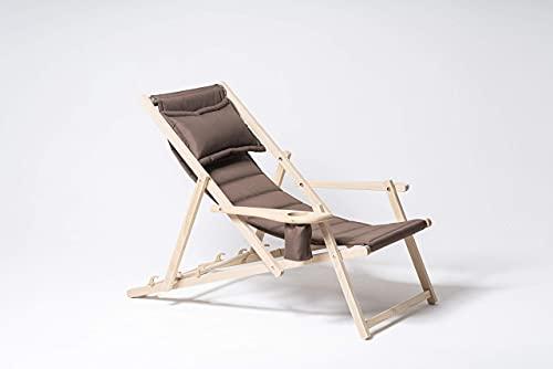 MyDeer - Tumbona plegable de madera | Sillón lounge con cojín |...