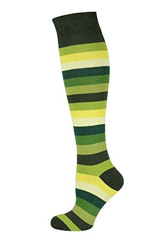 MySocks Calzini al ginocchio banda Cotone pettinato extra puro Multi verde