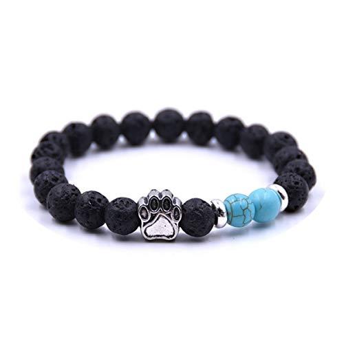 Lava Stone Bracelet Men Vintage Design Strand Bracelet DIY Jewelry Accessories Gift Go White ZB-01 Bracelet (Color : Si Green, Size : One Size)