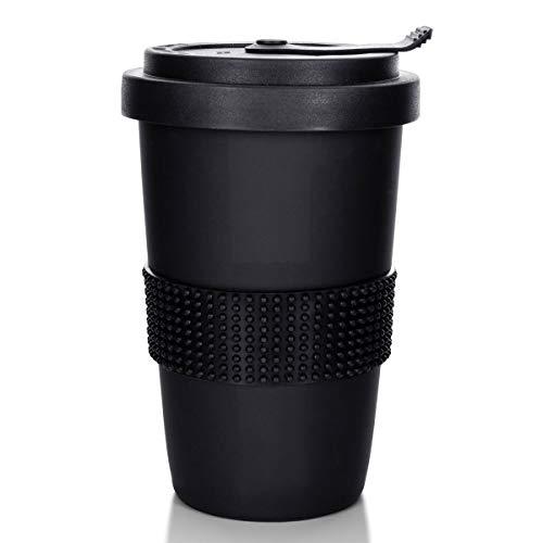 Mahlwerck Kaffeebecher to go, Porzellan Coffee-to-go Becher mit auslaufsicherem Deckel, Schwarz matt, 400 ml