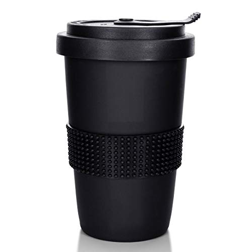 Mahlwerck Kaffeebecher to go, Porzellan Kaffee to go Becher mit auslaufsicherem Deckel, Schwarz & Weiß, 350ml