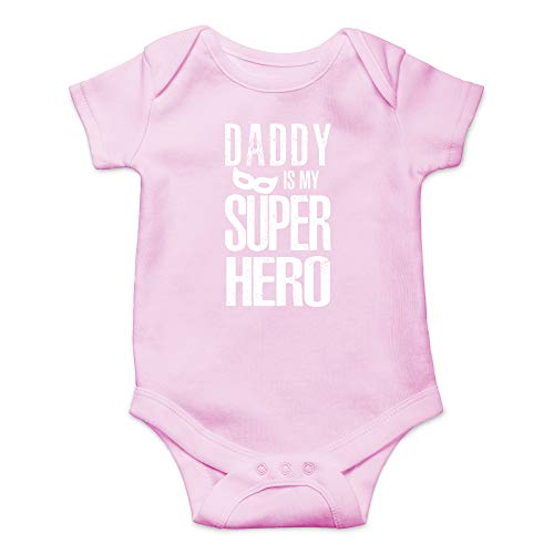 CBTwear Daddy is My Superhero - I Love My Dad My Father is The Best - Cute Infant One-Piece Baby Bodysuit (6 Months, Pink)