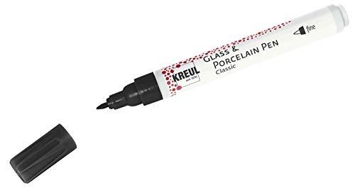 Kreul 16412 - Glass & Porcelain Pen Classic fine, schwarz, formstabile Feinspitze, Strichstärke ca. 1 - 2 mm, deckende Glas- und Porzellanmalfarbe auf Wasserbasis, brillante, lichtbeständige Farbe
