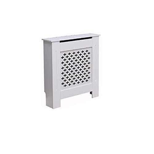 Kensington Radiator Cover Modern MDF Wood White Grey Cross Pattern Living Room Bedroom Hallway Cabinet (Small White)