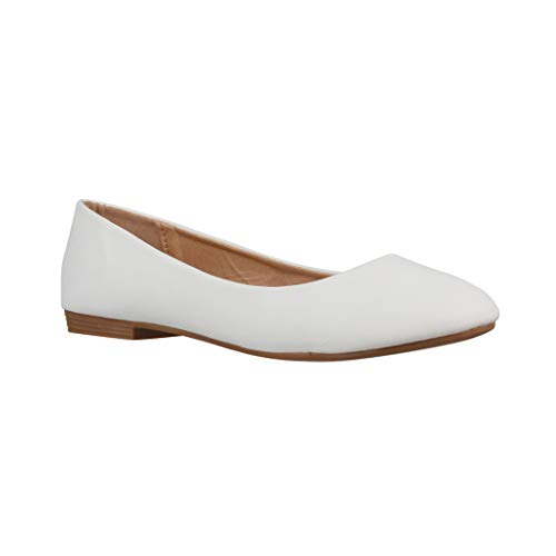 Elara Damen Ballerina Bequeme Slip Ons Flach Chunkyrayan B3039H BL White 40