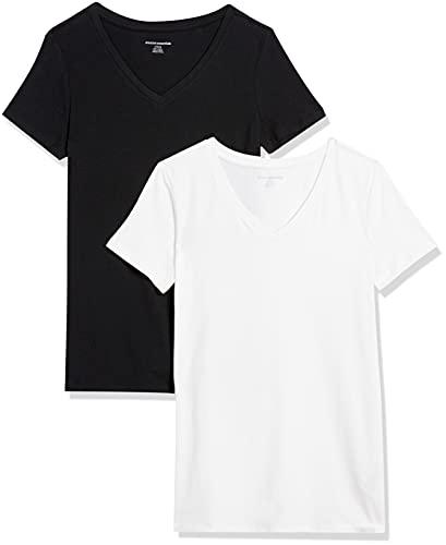 Amazon Essentials Camiseta de manga corta clásico con cuello en V, Mujer, Negro (Negro/Blanco), M, pack de 2