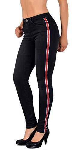 ESRA Damen Jeans Skinny Streifen Jeanshose Damen mit Seitenstreifen Highwaist bis Übergröße J330