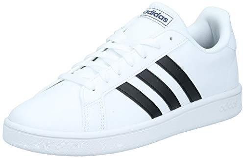 Adidas Tenis Grand Court Base EE7904 para Hombre, Color Blanco/Franjas Negras, Talla 6 Mex