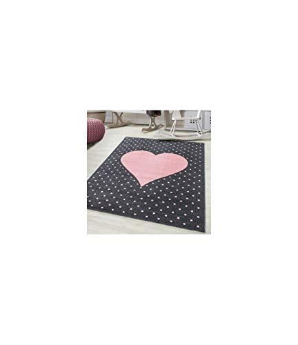 Kinderteppich Baby Teppich Kinderzimmer Herz Motiv Pink Grau Farben - 120 cm Rund