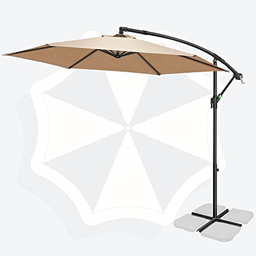 FRUITEAM 10FT Patio Offset Umbrella Cantilever Umbrella, Large Hanging Market Umbrella Large with Crank & Cross Base, Waterproof UV Protection Outdoor Umbrella with Ventilation for Backyard/Garden