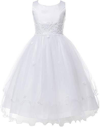 Flower Girl Dress First Communion Sleeveless Embroidery Tulle Dress Big Girl White 8 KD.198