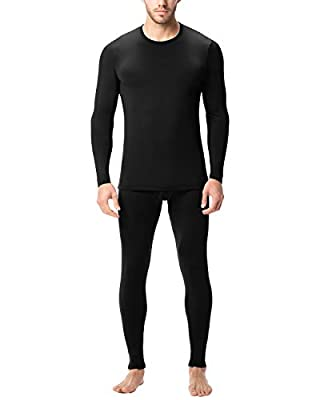 LAPASA Men's Lightweight Thermal Underwear Long John Set Fleece Lined Base Layer Top and Bottom (Large, Black)