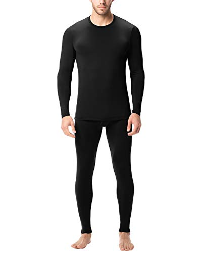 LAPASA Men's Lightweight Thermal Underwear Long John Set Fleece Lined Base Layer Top and Bottom (X-Large, Black)