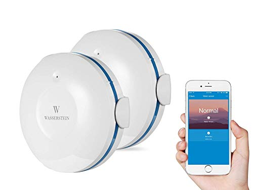 Wasserstein WiFi Water Leak Sensor - Smart Water Leak Detector to Protect Your Home from Flooding (2-Pack, White)