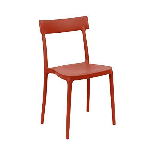 Sedia Modello Argo in Polipropilene Set 4 Pezzi - Disponibile in 7 Colori (Rosso Opaco)