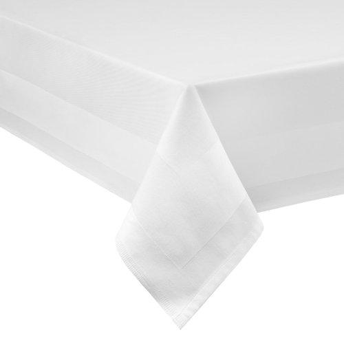 DecoHomeTextil Damast Tischdecke weiß - 130 x 280 cm - bei 95°C waschbar Feinste Vollzwirn 100% Baumwolle mercerisiert aus hochwertigem Ringgarn