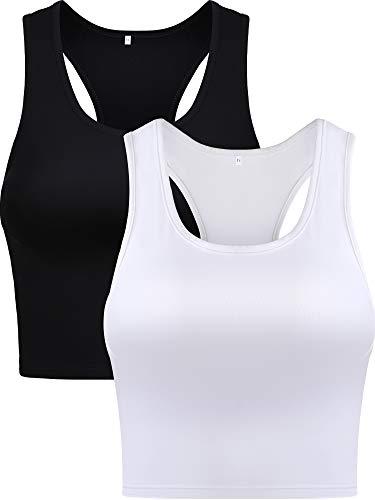 Damen Crop Tank Top Baumwolle Basic Ärmellos Racerback Kurz Sport Crop Top für Damen Mädchen Tägliches Tragen (Farbe Set 2, Medium)