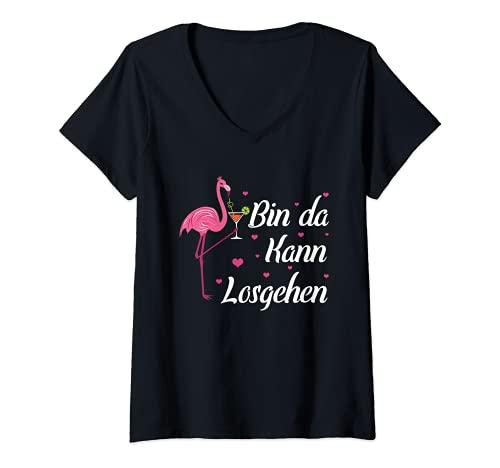 Damen Party Feiern Saufen Wein Sekt Flamingo Bin Da Kann Losgehen T-Shirt mit V-Ausschnitt