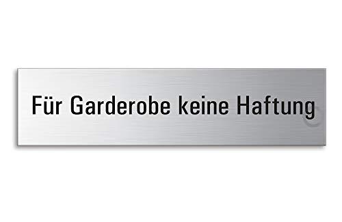 Schild - Für Garderobe Keine Haftung | Türschild aus Edelstahl 160 x 40 mm selbstklebend | Original Ofform Design Nr.8341