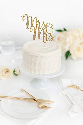 Cake Topper Mrs & Mrs Wedding Two Brides Same Sex Wedding Decor Custom Topper Personalized Cardstock Glitter Paper