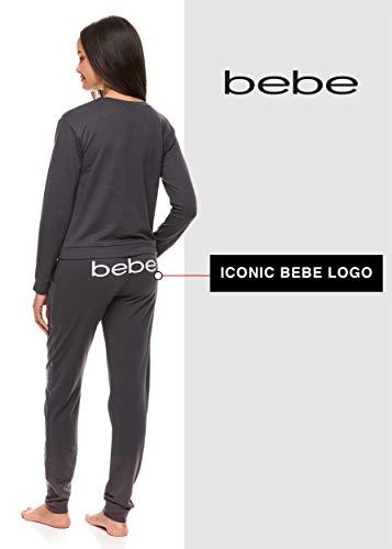 bebe Womens Pajama Set with Pockets - Long Sleeve Shirt and Jogger Pants Loungewear Set (Charcoal, Medium)