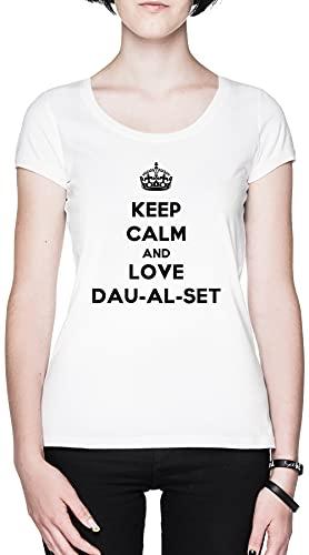 Keep Calm and Love Dau-Al-Set Blanca Mujer Camiseta Tamaño XL White Women's tee Size XL