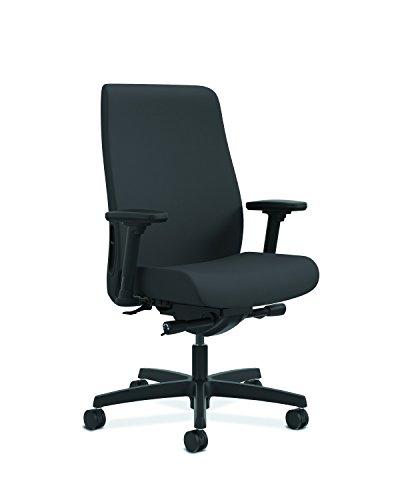 HON Endorse Mid-Back Task Chair- Upholstered Computer Chair for Office Desk, Black (HLWU)