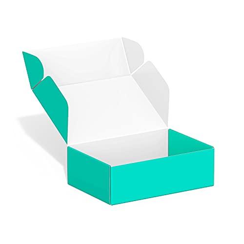 Paquete de 50 cajas de envío pequeñas de 10 x 15 x 5 cm, cajas de envío de cartón, cajas de cartón corrugado, cajas de envío para pequeñas empresas, para embalaje - TONESPAC (verde azulado)