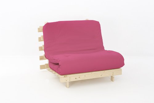 Comfy Living 3ft LUXURY Single (90cm) Wooden Futon Set with PREMIUM LUXURY Hot Pink Mattress