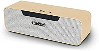 sodo Efillooc L4 Life Bluetooth Speaker Wood Finish 5Wx2 Stereo Bass w TWS FM NFC TF Card and USB 8 Hrs Playtime (Beige)