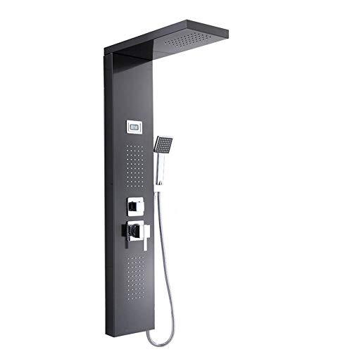Panel de ducha montado en la pared, panel de ducha cascada de acero inoxidable con pantalla digital LCD, tres salidas de agua para baño