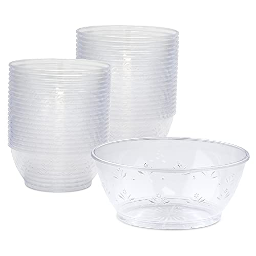 [60 Pack] Clear Plastic Bowls - 6 oz Hard Plastic Ice Cream Cups, Disposable Soup Bowl, Small Serving Bowl for Sundae, Dessert, Sauce, Salad, Snacks at Home, Party, Catering, Wedding, Special Events