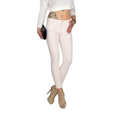DB Damen Stretch High Waist Röhrenjeans mit Streifen in rosa weiß oder Mint weiß (L / 40, Rosa)