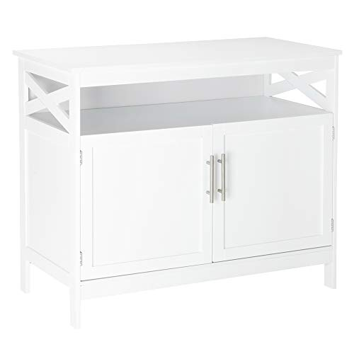 VINGLI Sideboard Buffet, White Kitchen Sideboard Cabinet Modern Dining Storage Server Multi-Functional Buffet Cabinet in Kitchen/Dining Room/Living Room with Open Shelf