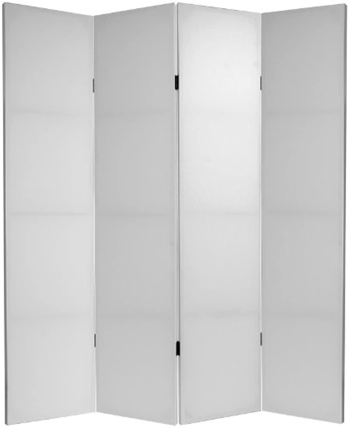 Oriental Furniture Simple Low Cost Light Sturdy Screen, 6-Feet Tall DIY Plain White Canvas Room Divider Folding Partition- 4 Panel