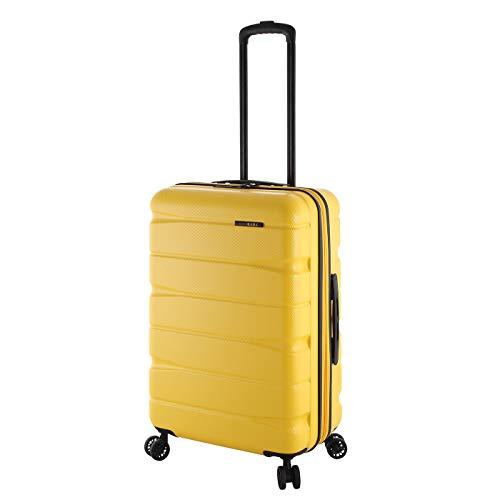 Rada 65cm Reise Koffer Trolley Ultra Robust ABS-Material, 60 Liter, Hartschalen Gepäck mit 4 360° Rollen, TSA-Schloss, Volumen ERWEITERBAR, Teleskopgestänge, Unisex (gelb)