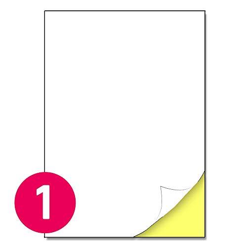 210 x 297 mm, 25 hojas, A4 Etiqueta Autoadhesiva blanca mate - 1 etiqueta por hoja