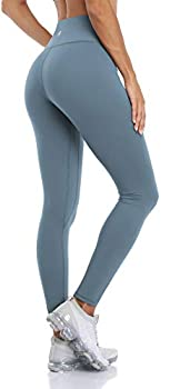 ATTRACO Naked Feeling Leggings for Women High Waisted Workout Tights Tummy Control Slimming Buttery Soft Yoga Pants Light Blue