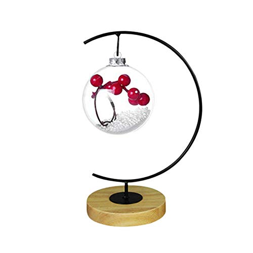 Fosinz Ornament Display Stand Wood Iron Hanging Stand Holder Hooks for Hanging Glass Globe Air Plant Terrarium Ball Christmas Ornament Home Wedding Decoration