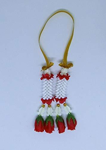 FUSAP Thai Rose Jasmine Garland Fabric Flowers (Red)