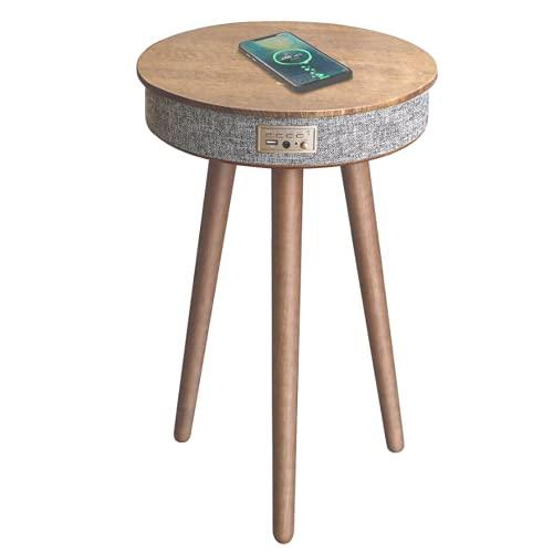 Mesa de café con carga inalámbrica, mesa de sofá, mesa de carga inalámbrica, altavoz Bluetooth, puerto USB integrado, para salón, sala de recepción, oficina