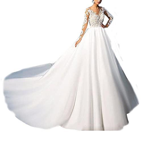 yhfshop Vestido de Fiesta Noche Dama de,Vestido de Novia de Cola de Novia de Encaje de Manga Larga-White_54,Vestido Largo de Dama de Honor