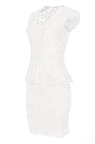Laeticia Dreams Damen Kleid aus Spitze Kurzarm Knielang Schößchen S M L XL, Farbe:Weiss;Größe:36