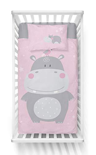 Flodhäst barnsängkläder baby sängkläder 2 delar set påslakan 100 x 135 + örngott 40 x 60 cm, 100 % bomull Öko-Tex, rosa