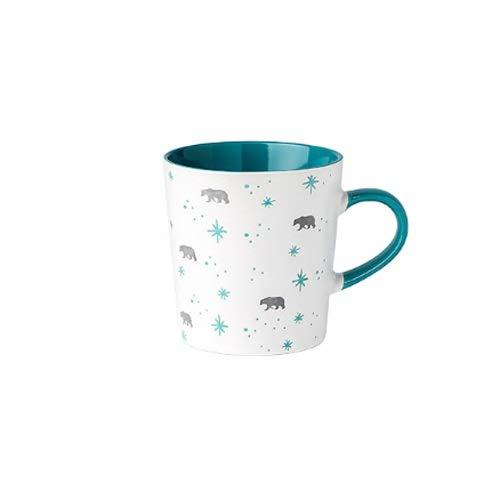Rghfn Copa de té de cerámica Copa de Leche Leche Elk Taza Creativa Hombres Y Mujeres Taza De Café Desayuno Oficina Avena Taza Nórdica Moda Personalidad Hogar Té Beber Taza (Color : Snow Bear Cup)