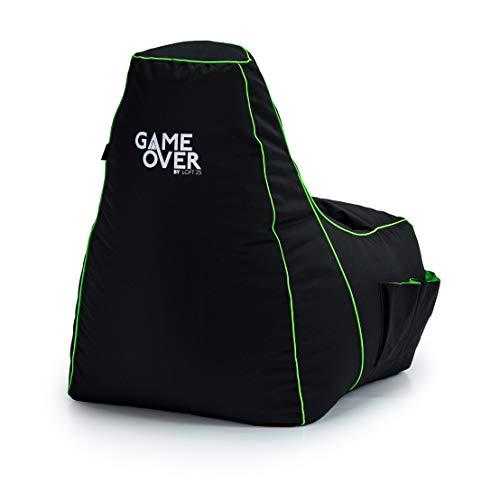 Game Over Video Spiele Sitzsack | Indoor Wohnzimmer | Seitentaschen für Controller | Headset Halter | Ergonomisches Design für die Gewidmet Gamer (Fel Magic)