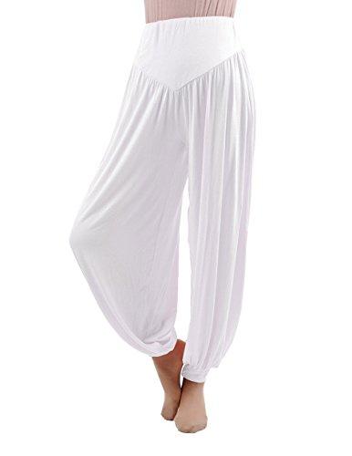Hoerev Super miękkie spodnie z elastanu, do jogi, pilatesu, szarawary, biały, 3XL