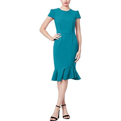 Betsey Johnson Women's Stretch Crepe Dress with Ruffled Hem, Teal, 2