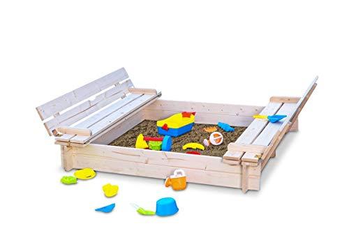 Coemo Das Besonder finden Sandkasten mit Deckel 120x120 klappbar aus Holz 2 Sitzbänke Sandkiste Buddelkasten
